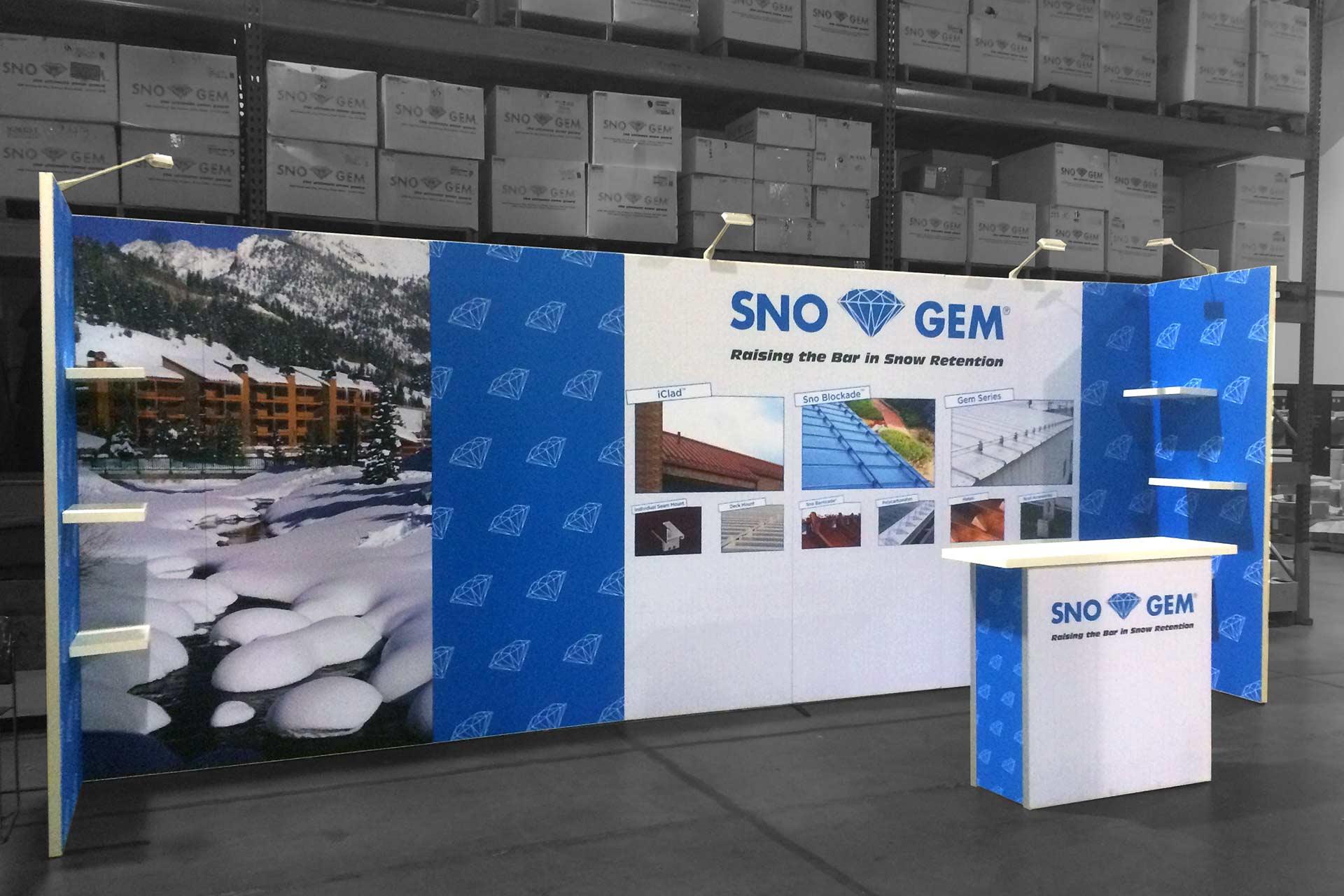 Sno Gem Trade Show Booth - Angled